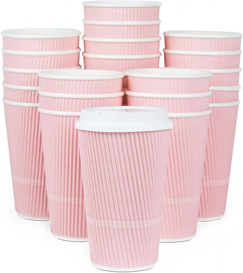 4. Glowcoast Disposable Coffee Cups With Lids