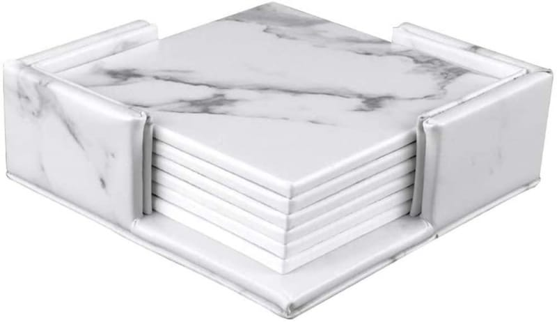 4. Thipoten Store Leather Coasters with Marble Design