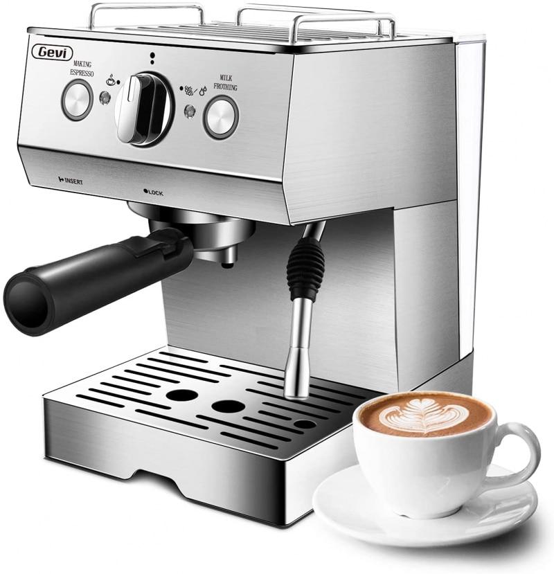 6. Gevi Espresso Machine 15 Bar with Milk Frother