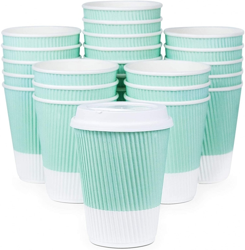 6. Glowcast Store Premium Disposable Coffee Cups With Lids