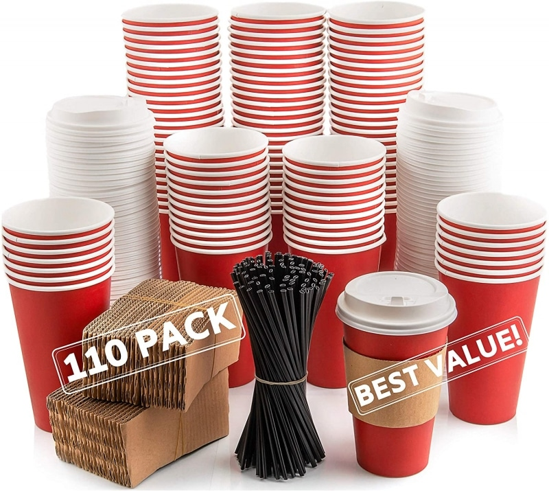7. 110 Pack Disposable Coffee Cups with Lids