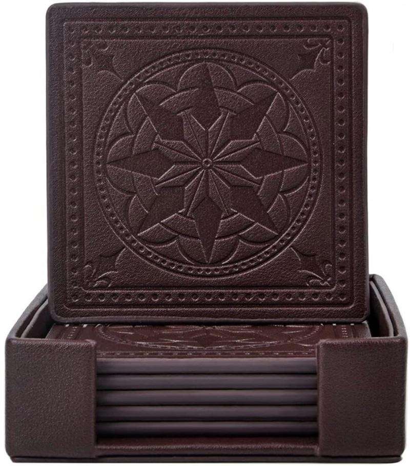 7. 365park PU Leather Coasters
