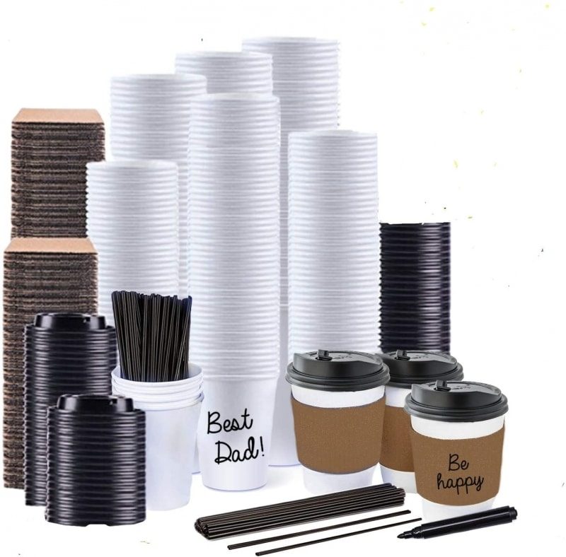 8. JUMBO VALUE SET of 130 Coffee Disposable Paper Hot Cups
