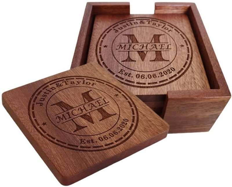 9. MOJIA Personalized Coasters