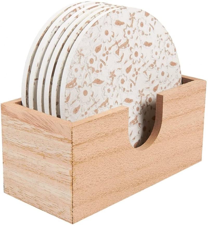 1. Juvale Wood Coasters