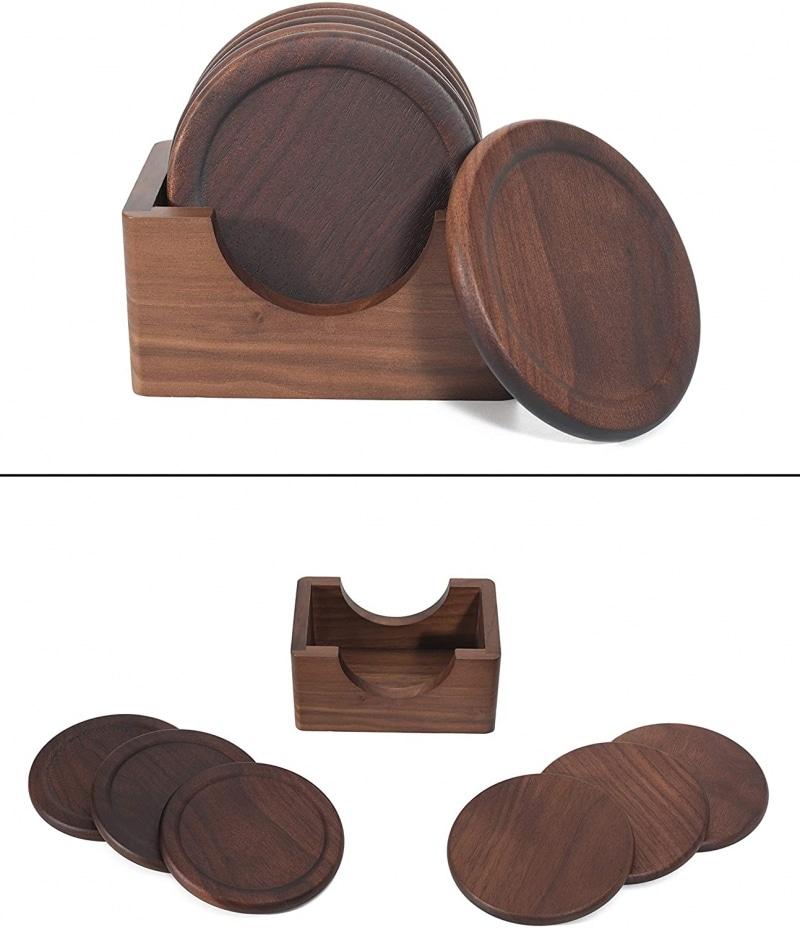 10. Mu&Ti Walnut Dark Wood Coaster Set