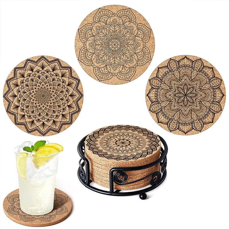 4. GALAROES Natural Cork Coasters