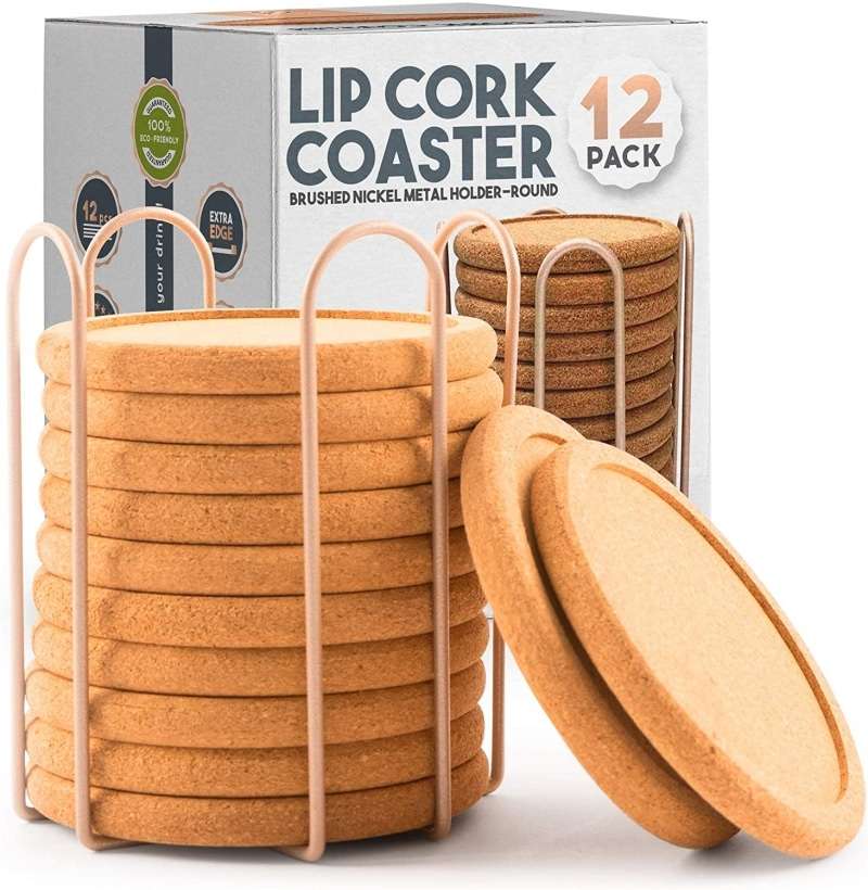 7. Decopom Lip Cork Coasters