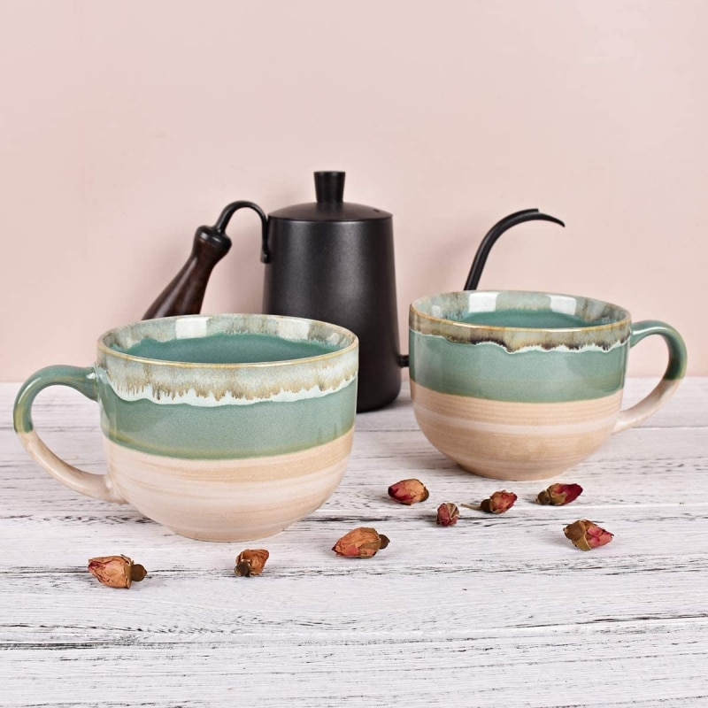 9. Bosmarlin Large Stoneware Coffee Mug Set of 2