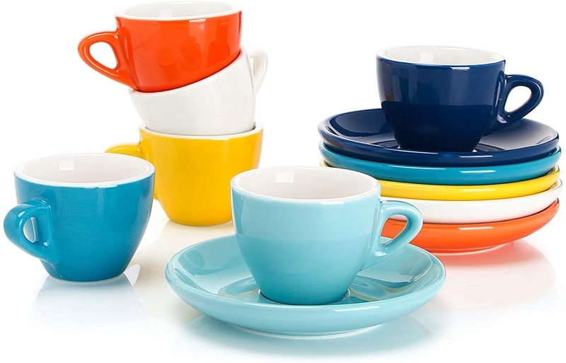 4. Sweese 401.002 Porcelain Espresso Cups with Saucers